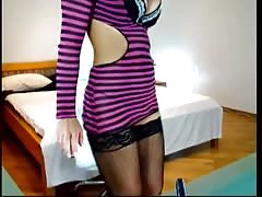 Sensual young blonde is quickly getting rid of her clothes